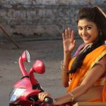 Oviya helen, orange saree, bike