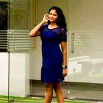 Subiksha, large size, blue dress, glamour