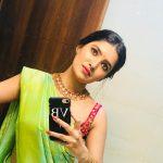 Vani Bhojan, green saree, spicy