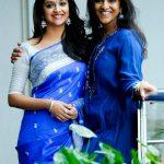 Keerthy Suresh, hd, girls, saree, blue saree