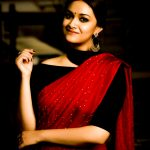 Keerthy Suresh, hd, red dress, saree, cute