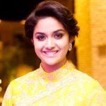 Keerthy Suresh, hd, smile, saree, cute, yellow saree
