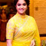 Keerthy Suresh, hd, yellow, saree, seemaraja