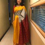 Maalavika Sundar,  Singer, yellow saree, pattu pudavai