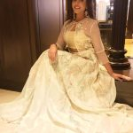 Madhu Shalini, white dress, sweetheart