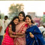 Sai Pallavi, blue saree, saree, sister