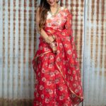 Sakshi Agarwal, Jeyikkira Kuthira Actress, red saree, treditional