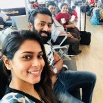 Shanthanu Bhagyaraj, selfie, airport, tour, family, wife
