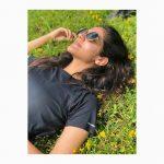 Simran Choudhary, grass, lying