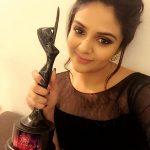 Sreemukhi, black dress, award