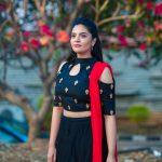Sreemukhi, black dress, tree