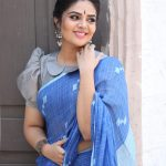 Sreemukhi, blue saree