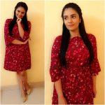 Sreemukhi, red dress