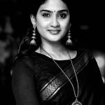 Aditi Ravi, Tick Tock Heroine, black saree, bw