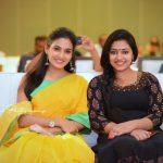 Aditi Ravi, yellow saree, event, sweet