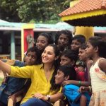 Andrea Jeremiah, selfie, kids, actress