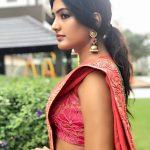 Eesha Rebba, Savyasachi Actress, red saree, side look, engaging