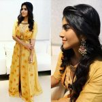 Megha Akash, yellow dress, shy, petta, vrv movie actress
