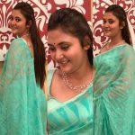 Megha Chowdhury, Varma Heroine, blue saree, chubby