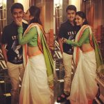 Megha Chowdhury, white saree, brother, kiss, hug
