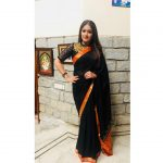 Meghana Raj, Onti Heroine, black saree, dashing