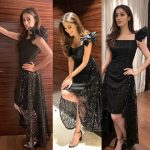 Raai Laxmi, glamour, collage, black dress