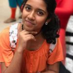 Sadhana, Child, Artist, orange dress, adorable