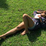 Shalini Pandey, 100% Kadhal Actress, grass, lying