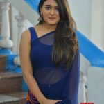 Shalini Pandey, blue saree, loose hair