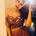 Shraddha Das, Kotigobba 3 heroine, brown dress, lighting