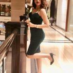 Shraddha Das, Kotigobba 3 heroine, green dress, mall, one leg pose