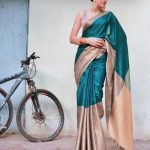 Shraddha Das, Kotigobba 3 heroine, green saree, traditional, cycle
