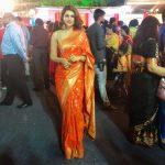 Shraddha Das, orange saree, night, temple function