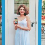 Shraddha Das, white dress, mobilr ad