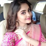 Surbhi, Voter Actress, pink saree, car