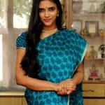 Vasundhara Kashyap, Kanne Kalaimaane Actress, blue saree, homely