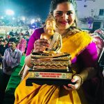 Vidyullekha Raman, Comedy Actress, yellow saree, award