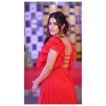 kavya thapar, red dress, back side