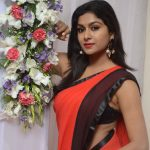 Akshitha, Prementha Panichese Narayana Actress, red saree, side pose