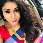 Alya Manasa, Raja Rani Serial Heroine, car, saree, selfie
