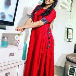 Alya Manasa, Raja Rani Serial Heroine, red dress, without makeup