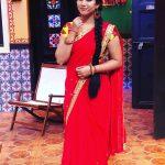 Alya Manasa, Raja Rani Serial Heroine, red saree, shooting spot
