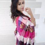 Alya Manasa, colourful Saree, Side Pose