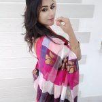 Alya Manasa, colourful Saree, Side Pose