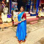 Bommu lakshmi, 90 ml actress, blue saree, road