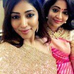 Bommu lakshmi, 90 ml actress, pink saree, selfie