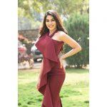 Nikki Tamboli, brown dress