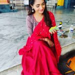Sharanya Turadi, Nenjam Marappathillai Serial Actress, red saree, temple