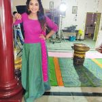 Sharanya Turadi, Nenjam Marappathillai Serial Actress, shooting spot, pink dress
