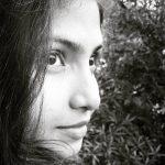 Venba, black and white, face
